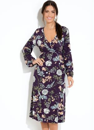 b01f41daa1 Vestido Quintess Midi Floral Preto - SouLojista