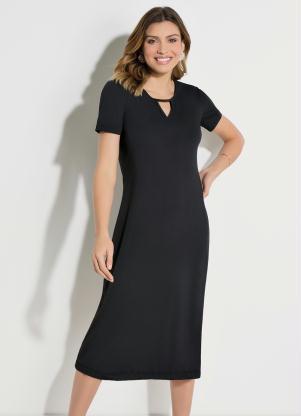 Vestido Quintess (Preto) com Recorte no Decote
