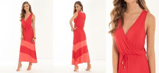 Vestido Quintess Vermelho com Recortes