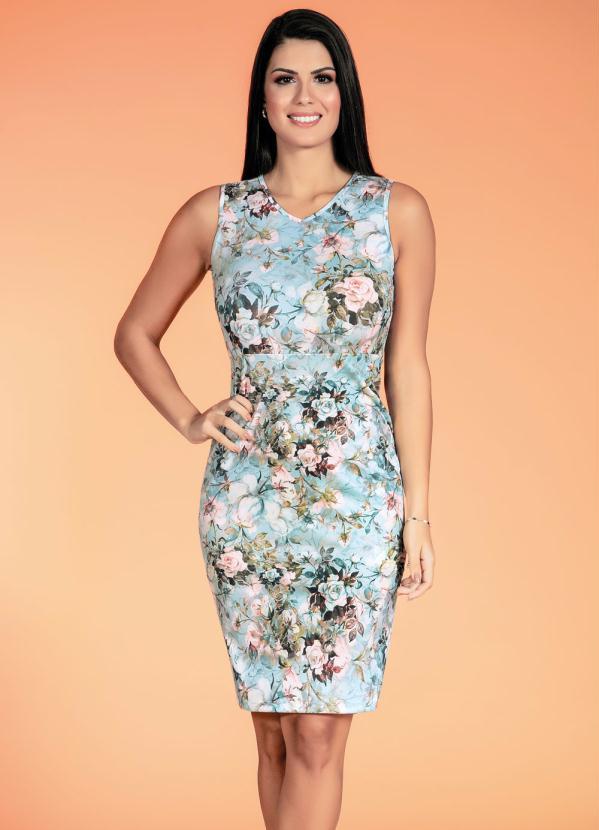 Vestido Regata (Floral Azul) Moda Evangélica