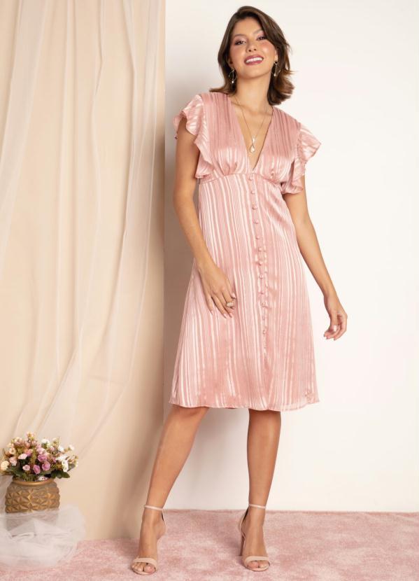Vestido (Rosa) Metalizado e Decote Transpassado