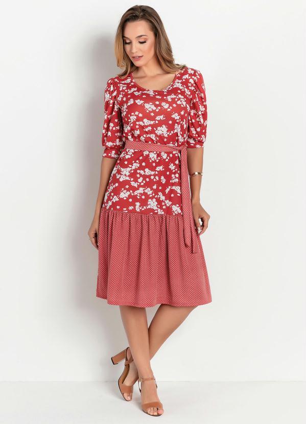 Vestido Soltinho (Floral Marsala) Moda Evangélica