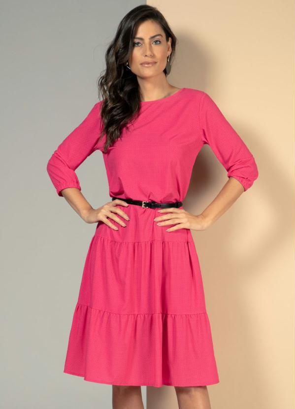 Vestido Soltinho (Poá Pink) com Mangas Bufantes