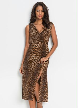 Vestido Transpassado Animal Print (Onça Marrom)
