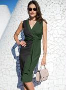 Vestido Transpassado Bicolor Preto