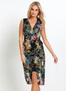 Vestido Transpassado com Amarração Floral Preto