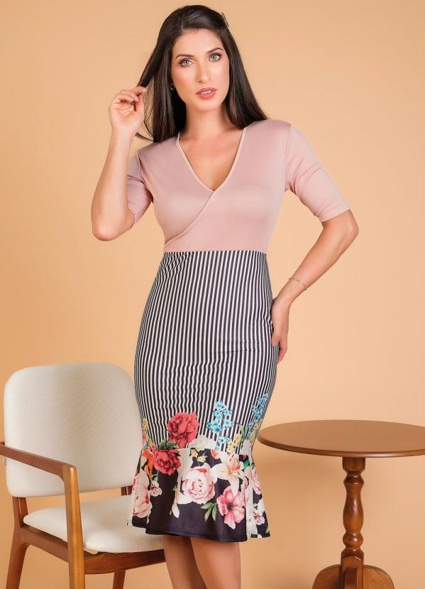 Vestido Transpassado (Floral) Moda Evangélica