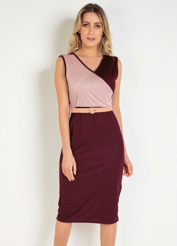 Vestido Tubinho (Bicolor) Moda Evangélica