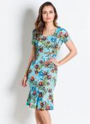 Vestido Tubinho Floral Azul Moda Evangélica