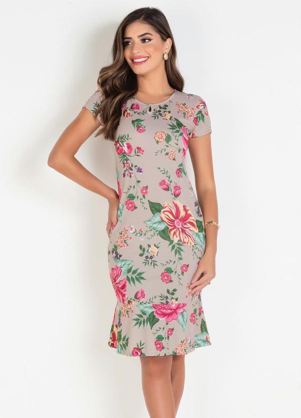 Vestido Tubinho (Floral Bege) Moda Evangélica