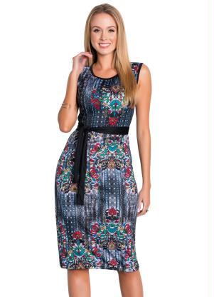 Vestido Tubinho (Floral) com Faixa Moda Evangélica