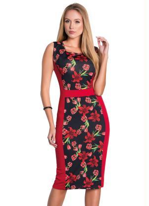 Vestido Tubinho (Floral Dark) Moda Evangélica