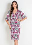 Vestido Tubinho Floral Étnico Moda Evangélica