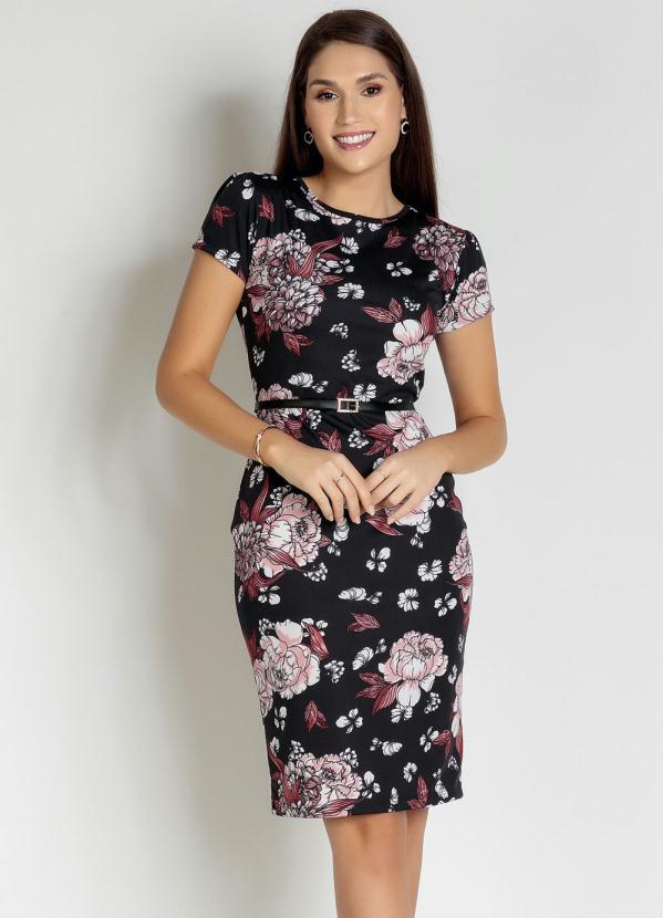 Vestido Tubinho (Floral Rosa) Moda Evangélica