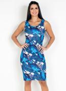 Vestido Tubinho Folhagens Azul Moda Evangélica