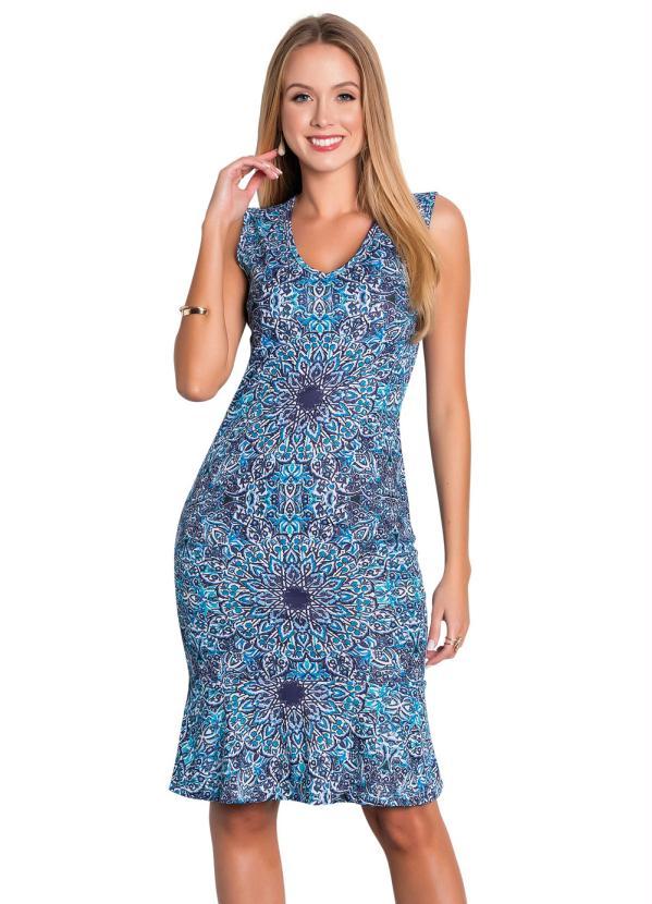 Vestido Tubinho Moda Evangélica com Babado (Azul)