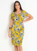 Vestido Tubinho Moda Evangélica Floral Amarelo
