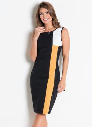 f37ac5f0a Vestido Tubinho Preto Amarelo Moda Evangélica - Quintess