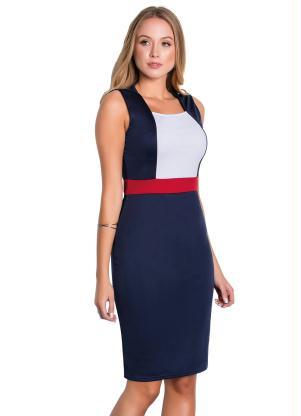 Vestido Tubinho (Tricolor) Moda Evangélica