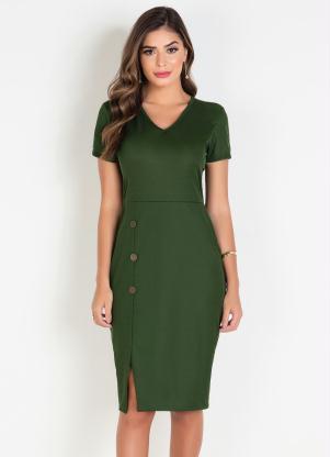 Vestido (Verde Militar) Moda Evangélica com Botões