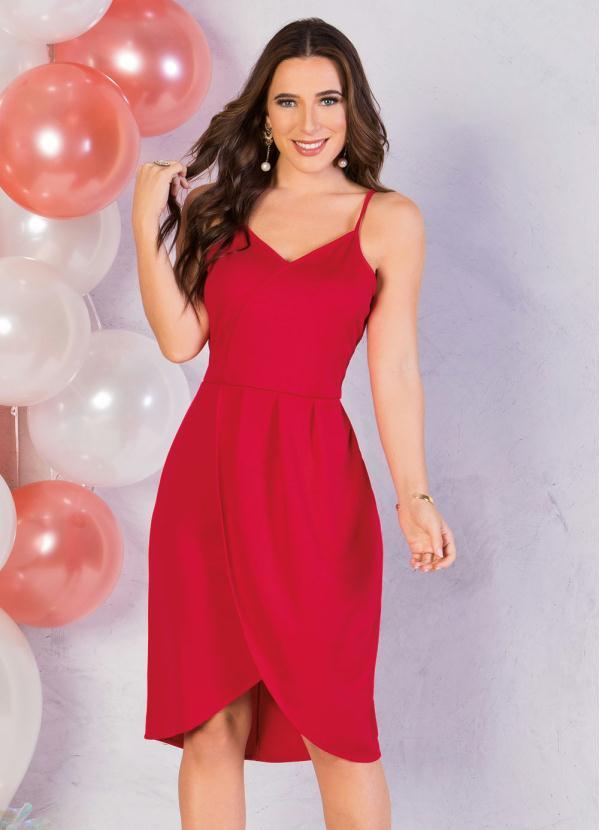 Vestido (Vermelho) de Alças com Fenda na Barra
