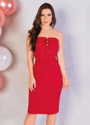 Vestido (Vermelho) Tomara que Caia com Ilhós