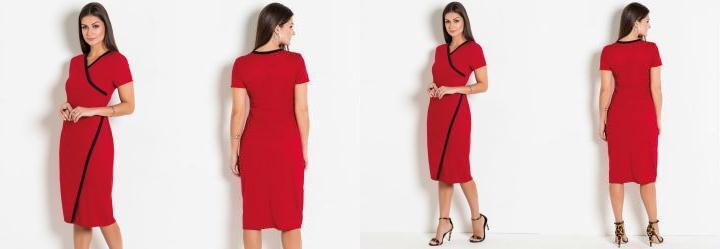 c28054b04 Score  0.0 Vestido Vermelho Transpassado Moda Evangélica