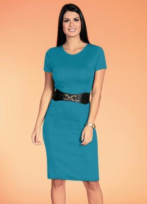 Vestidos Tubinho (Azul) Moda Evangélica