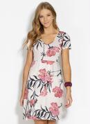 Vestido Clássico Floral com Mangas Curtas