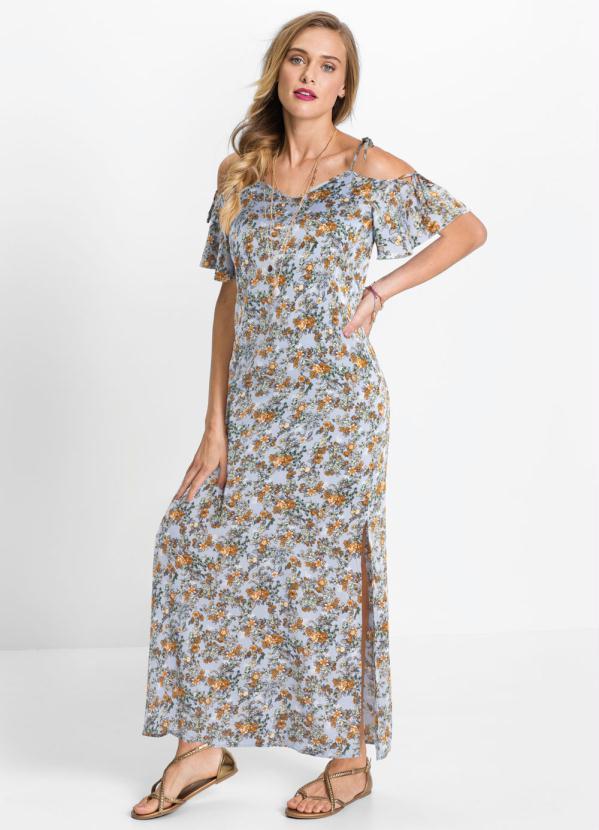Vestido Longo de Alcinhas (Floral Azul)