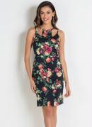Vestido Floral com Decote Único