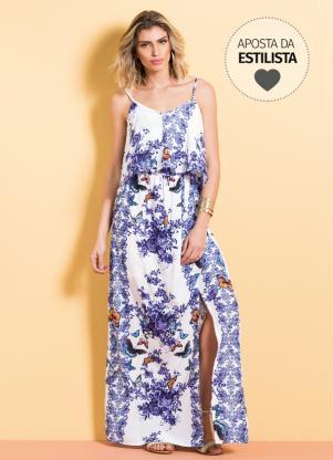 Vestido Longo Cetim (Mix Floral) Quintess