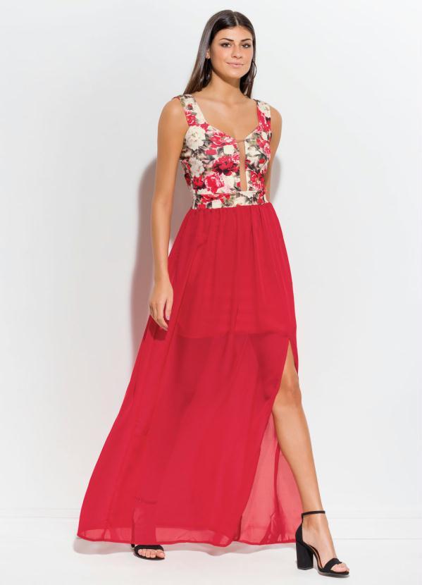 Vestido Longo com Fenda (Floral e Vermelho)