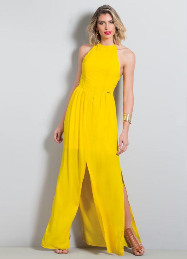 Vestido Longo com Fenda Quintess (Amarelo)