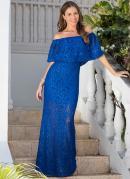 Vestido Longo de Renda Azul