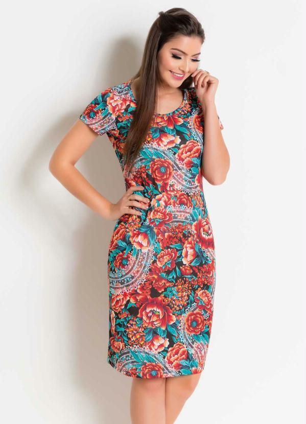 Vestido Decote Redondo (Floral e Vermelho)