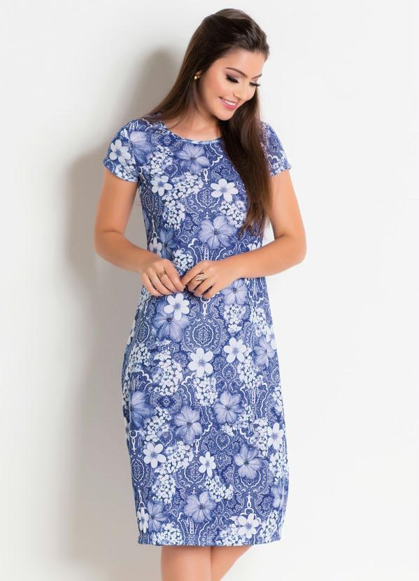 Vestido com Gola Redonda (Floral Azul)
