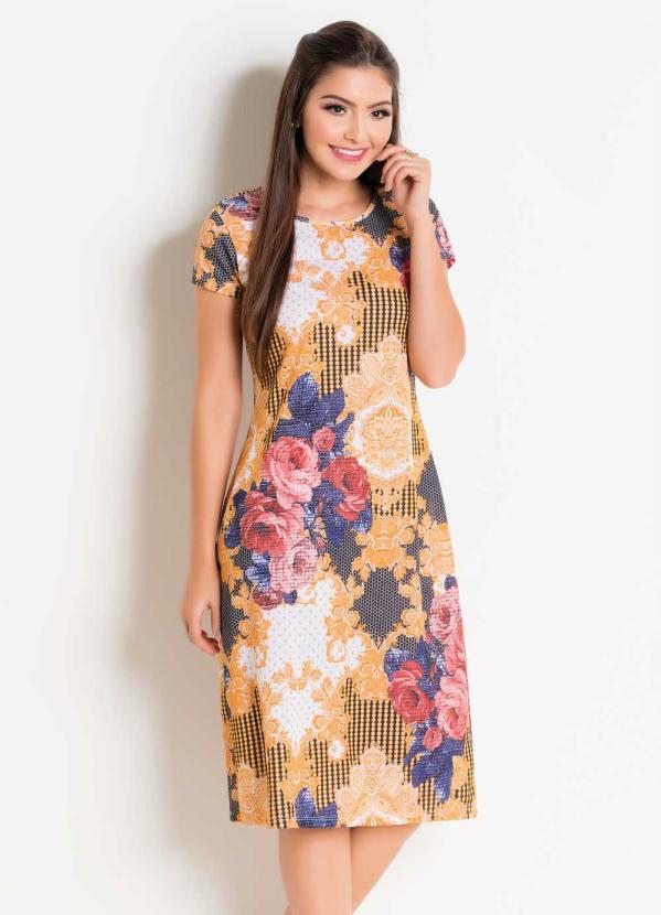 Vestido com Decote Redondo (Floral e Arabesco)