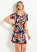 Vestido Quintess Mix Floral e Geométrico
