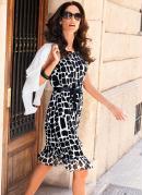 Vestido Estampa Geométrica Branco/Preto