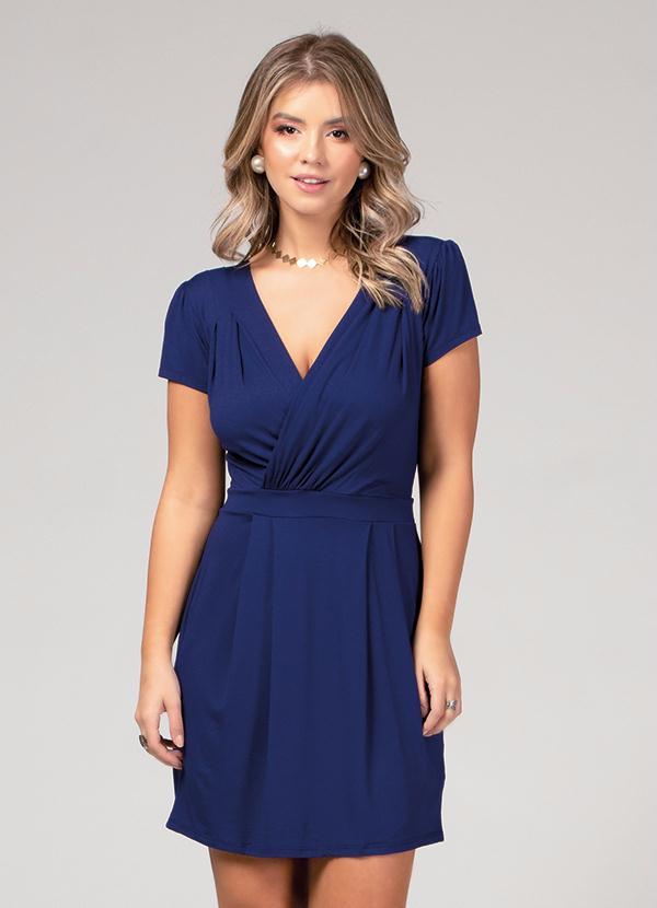 Vestido (Azul Marinho) com Decote Transpassado