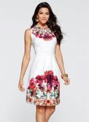 Vestido Evasê Estampado Floral Branco