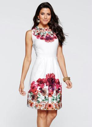 Vestido Evasê Estampado (Floral Branco)