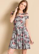 Vestido Floral com Detalhe Transparente
