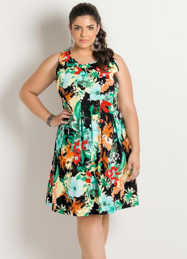 Vestido (Mix Flores) Plus Size