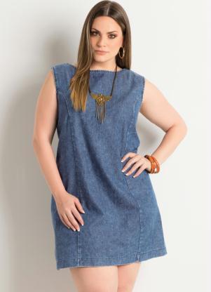 Vestido Trapézio (Jeans) Plus Size Quintess