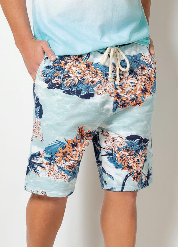 Bermuda Actual (Floral Azul) com Cós Ajustável