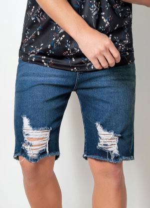 Bermuda Actual (Jeans) com Efeito Destroyed
