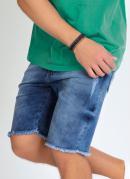 Bermuda Jeans com Puídos e Barra Desfiada