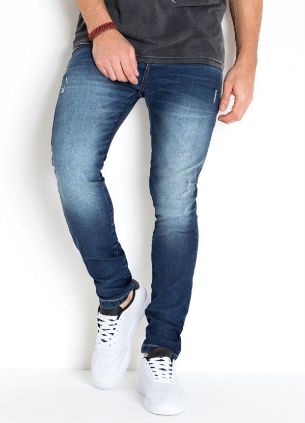 Calça Jeans Skinny com Detalhes Puídos (Jeans)